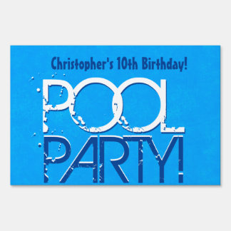 10th Ten Birthday Pool Party Save the Date P02Z Sign