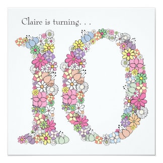 10th Tenth Girls Birthday Party Custom Invitation