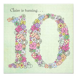 "10th Tenth Girls Birthday Party Custom Invitation 5.25"" Square Invitation Card"