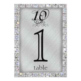 10th Tin and Diamond Anniversary Table Number