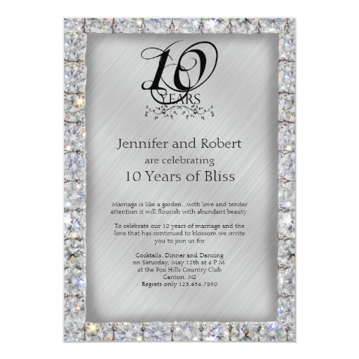 10th Tin And Diamond Wedding Anniversary 5x7 Paper