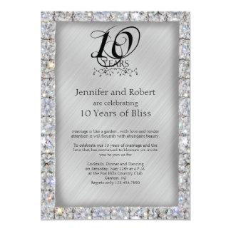 10th Tin and Diamond Wedding Anniversary Card