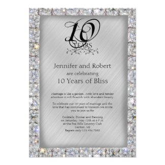 10th Tin and Diamond Wedding Anniversary Announcements