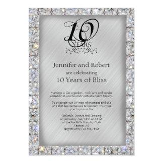 "10th Tin and Diamond Wedding Anniversary 5"" X 7"" Invitation Card"