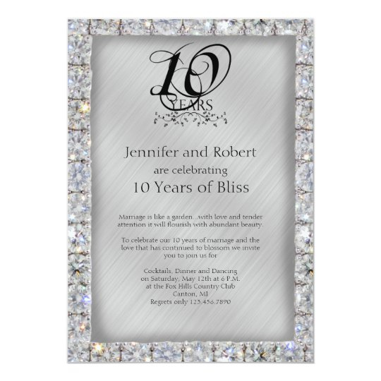 10 Year Wedding Anniversary Invitations: 10th Tin And Diamond Wedding Anniversary Invitation