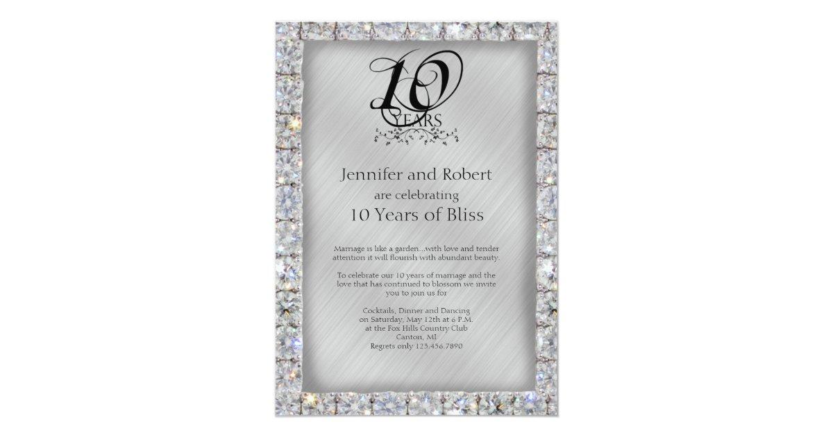 10th Wedding Anniversary Invitations: 10th Tin And Diamond Wedding Anniversary Invitation