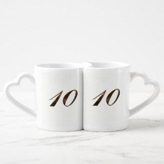10th Tin Wedding Anniversary Typography Elegant Coffee Mug Set