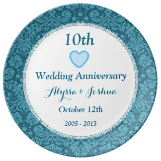 10th Wedding Anniversary Blue Damask and Lace B05C Porcelain Plate