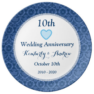 10th Wedding Anniversary Blue Damask and Lace W10B Dinner Plate