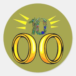 10th Wedding Anniversary Gifts Round Sticker