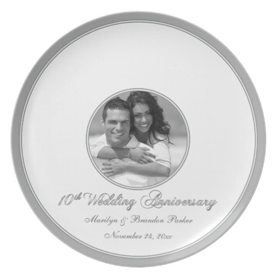 10th wedding anniversary guest signing plate zazzle