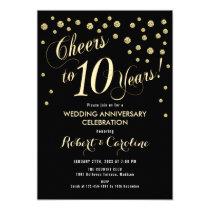 10th Wedding Anniversary Invitation - Black & Gold