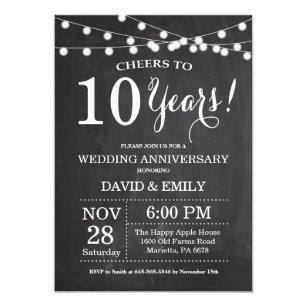 10th Wedding Anniversary Invitation Chalkboard