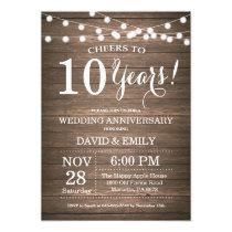 10th Wedding Anniversary Invitation Rustic Wood
