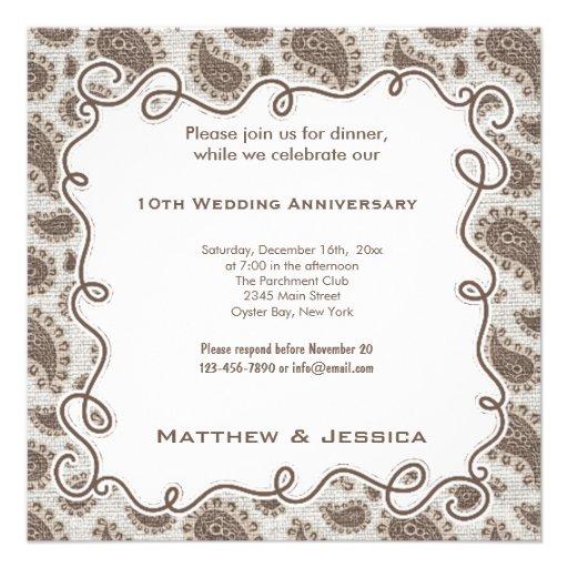 10th Wedding Anniversary 5.25x5.25 Square Paper Invitation