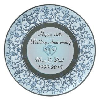 10th Wedding Anniversary Melamine Plate