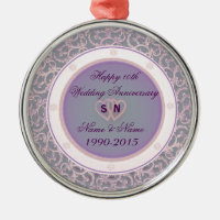 10th Wedding Anniversary Metal Ornament