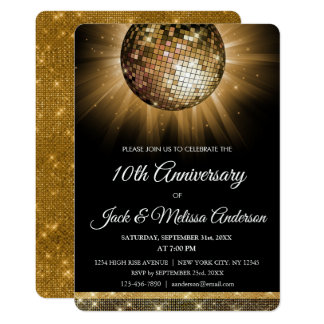 10th Wedding Anniversary Party Gold Disco Ball Card