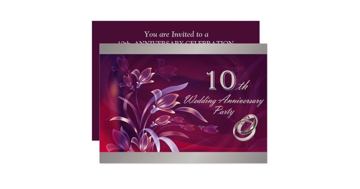 10th Wedding Anniversary Party Invitations Zazzle