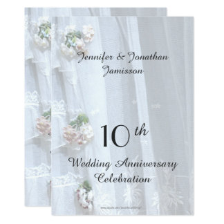 10th Wedding Anniversary Party, Vintage Lace Card