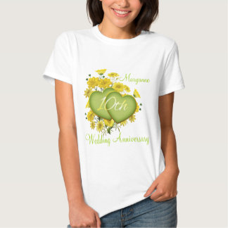 10th Wedding Anniversary Party Wildflower Hearts T Shirt