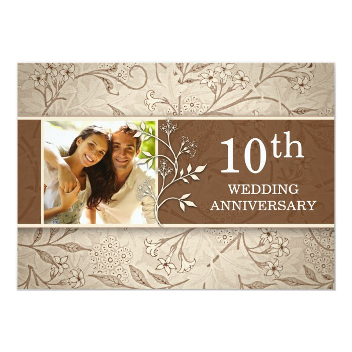 10th wedding anniversary photo invitations zazzle - Wedding anniversary invitations ...