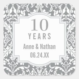 10th Wedding Anniversary Silver Damask A03B Square Sticker