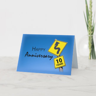 10th Year Business Anniversary Road Sign Card