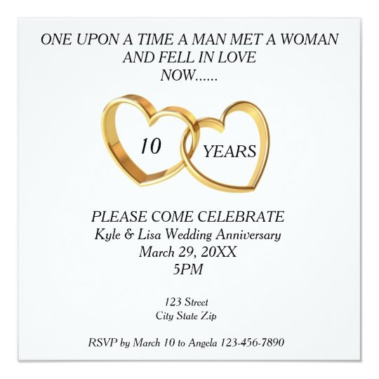 10 Year Wedding Anniversary Invitations: 10th Year Wedding Anniversary Invitation