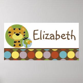 10x20 Nursery Art Name Print Jungle Tales Safari