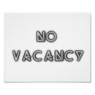 10x8 No Vacancy Black and White Wall Art Poster