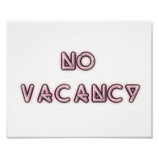 10x8 No Vacancy Pink Wall Art