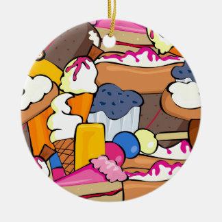 1104 SUGARY BAKING TREATS DESSERTS DOUGHNUTS MUFFI Double-Sided CERAMIC ROUND CHRISTMAS ORNAMENT