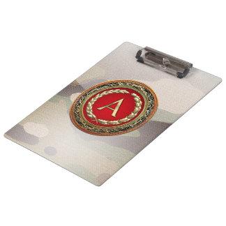 "[110] ""A"" Gold Vintage Monogram Clipboard"