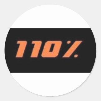 110% black classic round sticker