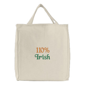110% Irish Embroidered Tote Bag