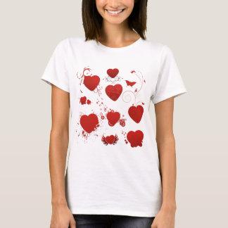 110 red heart shapes swirls wings butterflies T-Shirt