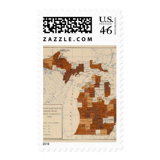 110 Typhoid fever Michigan Stamp
