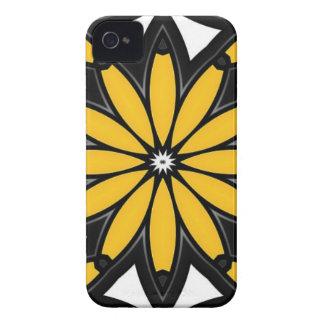 1119 RETRO BLACK ORANGE YELLOW VECTOR FLOWER WHITE iPhone 4 Case-Mate CASE