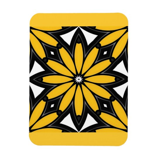1119 RETRO BLACK ORANGE YELLOW VECTOR FLOWER WHITE MAGNET