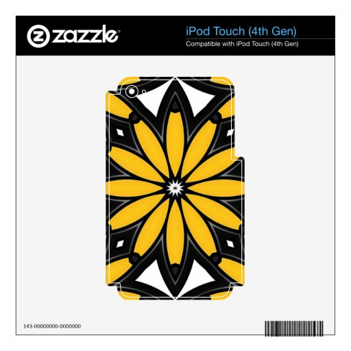1119 RETRO BLACK ORANGE YELLOW VECTOR FLOWER WHITE iPod TOUCH 4G DECALS