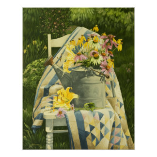 1138 Watering Can on Quilt in Garden Art Print