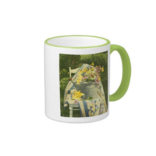 1138 Watering Can on Quilt in Garden Coffee Mug
