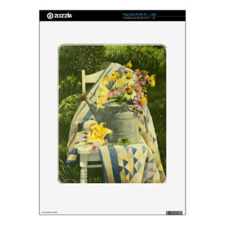 1138 Watering Can on Quilt in Garden Decals For The iPad