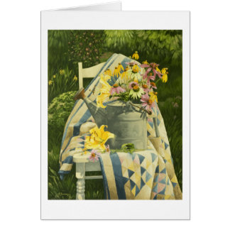 1138 Watering Can on Quilt in Garden Greeting Card