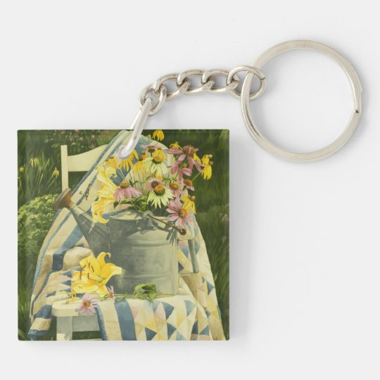 1138 Watering Can on Quilt in Garden Keychain