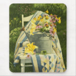 1138 Watering Can on Quilt in Garden Mouse Pad