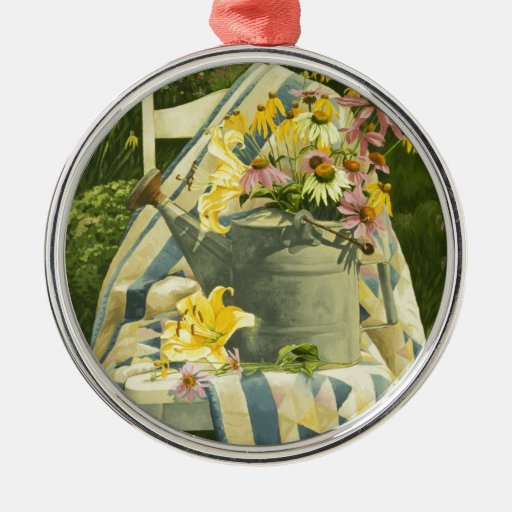 1138 Watering Can on Quilt in Garden Round Metal Christmas Ornament