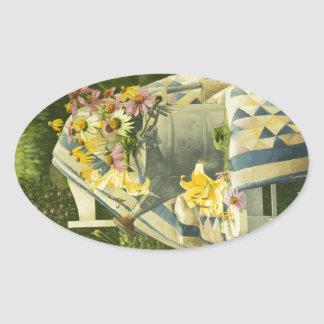 1138 Watering Can on Quilt in Garden Oval Sticker