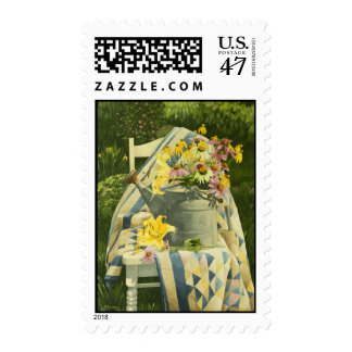 1138 Watering Can on Quilt in Garden Postage